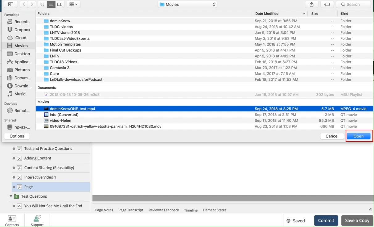 Uploading a Video File Using Insert Tab